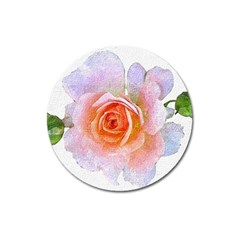 Pink Rose Flower, Floral Oil Painting Art Magnet 3  (round) by picsaspassion