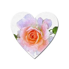 Pink Rose Flower, Floral Oil Painting Art Heart Magnet by picsaspassion
