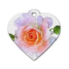 Pink Rose Flower, Floral Oil Painting Art Dog Tag Heart (one Side) by picsaspassion