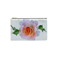 Pink Rose Flower, Floral Oil Painting Art Cosmetic Bag (small)  by picsaspassion