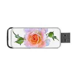 Pink Rose Flower, Floral Oil Painting Art Portable Usb Flash (two Sides) by picsaspassion