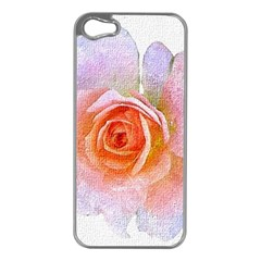 Pink Rose Flower, Floral Oil Painting Art Apple Iphone 5 Case (silver) by picsaspassion