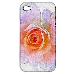 Pink Rose Flower, Floral Oil Painting Art Apple Iphone 4/4s Hardshell Case (pc+silicone) by picsaspassion