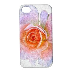 Pink Rose Flower, Floral Oil Painting Art Apple Iphone 4/4s Hardshell Case With Stand by picsaspassion
