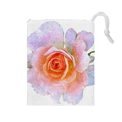 Pink Rose Flower, Floral Oil Painting Art Drawstring Pouches (large)  by picsaspassion