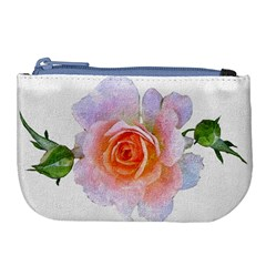 Pink Rose Flower, Floral Oil Painting Art Large Coin Purse by picsaspassion