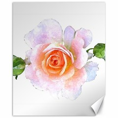 Pink Rose Flower, Floral Watercolor Aquarel Painting Art Canvas 11  X 14