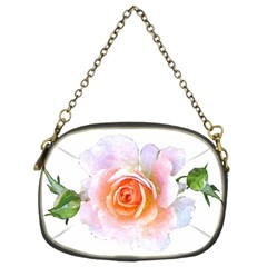 Pink Rose Flower, Floral Watercolor Aquarel Painting Art Chain Purses (two Sides)  by picsaspassion