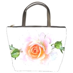 Pink Rose Flower, Floral Watercolor Aquarel Painting Art Bucket Bags by picsaspassion