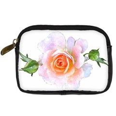 Pink Rose Flower, Floral Watercolor Aquarel Painting Art Digital Camera Cases by picsaspassion