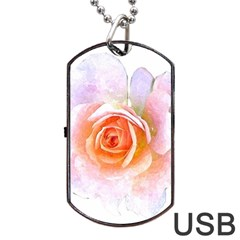Pink Rose Flower, Floral Watercolor Aquarel Painting Art Dog Tag Usb Flash (two Sides) by picsaspassion
