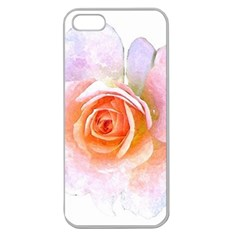 Pink Rose Flower, Floral Watercolor Aquarel Painting Art Apple Seamless Iphone 5 Case (clear) by picsaspassion