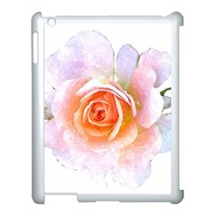 Pink Rose Flower, Floral Watercolor Aquarel Painting Art Apple Ipad 3/4 Case (white) by picsaspassion