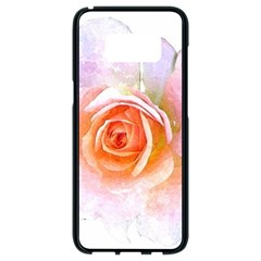 Pink Rose Flower, Floral Watercolor Aquarel Painting Art Samsung Galaxy S8 Black Seamless Case by picsaspassion