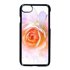 Pink Rose Flower, Floral Watercolor Aquarel Painting Art Apple Iphone 8 Seamless Case (black) by picsaspassion