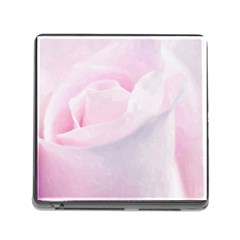 Rose Pink Flower, Floral Aquarel   Watercolor Painting Art Memory Card Reader (square) by picsaspassion