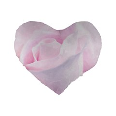 Rose Pink Flower, Floral Aquarel   Watercolor Painting Art Standard 16  Premium Flano Heart Shape Cushions by picsaspassion