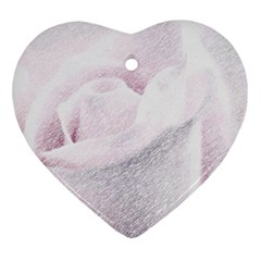 Rose Pink Flower  Floral Pencil Drawing Art Ornament (heart) by picsaspassion