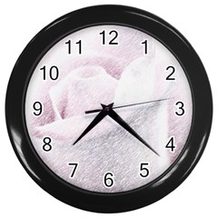 Rose Pink Flower  Floral Pencil Drawing Art Wall Clocks (black) by picsaspassion