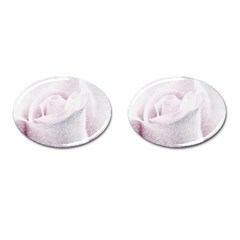 Rose Pink Flower  Floral Pencil Drawing Art Cufflinks (oval) by picsaspassion