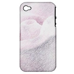 Rose Pink Flower  Floral Pencil Drawing Art Apple Iphone 4/4s Hardshell Case (pc+silicone) by picsaspassion
