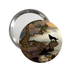 The Lonely Wolf On The Flying Rock 2 25  Handbag Mirrors by FantasyWorld7