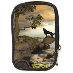 The Lonely Wolf On The Flying Rock Compact Camera Cases by FantasyWorld7