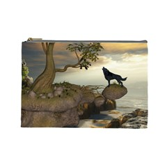 The Lonely Wolf On The Flying Rock Cosmetic Bag (large)  by FantasyWorld7
