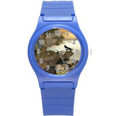 The Lonely Wolf On The Flying Rock Round Plastic Sport Watch (s) by FantasyWorld7