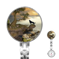 The Lonely Wolf On The Flying Rock Stainless Steel Nurses Watch by FantasyWorld7