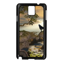The Lonely Wolf On The Flying Rock Samsung Galaxy Note 3 N9005 Case (black) by FantasyWorld7