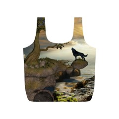 The Lonely Wolf On The Flying Rock Full Print Recycle Bags (s)  by FantasyWorld7