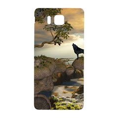 The Lonely Wolf On The Flying Rock Samsung Galaxy Alpha Hardshell Back Case by FantasyWorld7