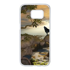 The Lonely Wolf On The Flying Rock Samsung Galaxy S7 Edge White Seamless Case by FantasyWorld7