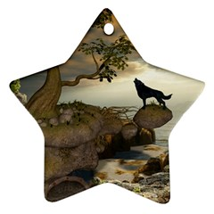 The Lonely Wolf On The Flying Rock Ornament (star) by FantasyWorld7