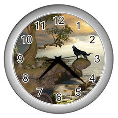The Lonely Wolf On The Flying Rock Wall Clocks (silver)  by FantasyWorld7