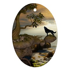 The Lonely Wolf On The Flying Rock Oval Ornament (two Sides) by FantasyWorld7