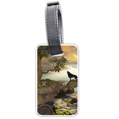 The Lonely Wolf On The Flying Rock Luggage Tags (two Sides) by FantasyWorld7