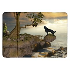 The Lonely Wolf On The Flying Rock Samsung Galaxy Tab 8 9  P7300 Flip Case by FantasyWorld7