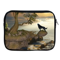 The Lonely Wolf On The Flying Rock Apple Ipad 2/3/4 Zipper Cases by FantasyWorld7