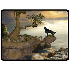 The Lonely Wolf On The Flying Rock Double Sided Fleece Blanket (large)  by FantasyWorld7