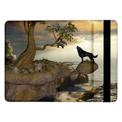The Lonely Wolf On The Flying Rock Samsung Galaxy Tab Pro 12 2  Flip Case by FantasyWorld7