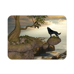 The Lonely Wolf On The Flying Rock Double Sided Flano Blanket (mini)  by FantasyWorld7