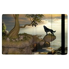 The Lonely Wolf On The Flying Rock Apple Ipad Pro 12 9   Flip Case by FantasyWorld7