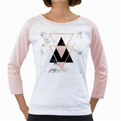 Triangles,gold,black,pink,marbles,collage,modern,trendy,cute,decorative, Girly Raglans by 8fugoso