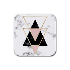 Triangles,gold,black,pink,marbles,collage,modern,trendy,cute,decorative, Rubber Square Coaster (4 Pack)  by 8fugoso
