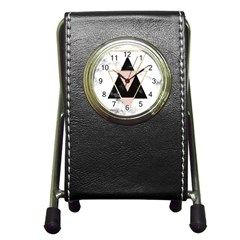 Triangles,gold,black,pink,marbles,collage,modern,trendy,cute,decorative, Pen Holder Desk Clocks by 8fugoso
