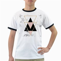 Triangles,gold,black,pink,marbles,collage,modern,trendy,cute,decorative, Ringer T Shirts by 8fugoso