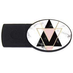 Triangles,gold,black,pink,marbles,collage,modern,trendy,cute,decorative, Usb Flash Drive Oval (4 Gb) by 8fugoso