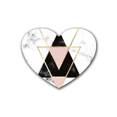 Triangles,gold,black,pink,marbles,collage,modern,trendy,cute,decorative, Heart Coaster (4 Pack)  by 8fugoso